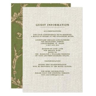 Cartões de informação do convidado do casamento do