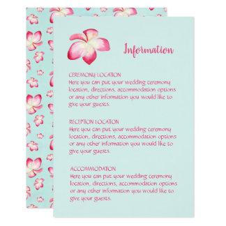 Cartões de informação tropicais do casamento do