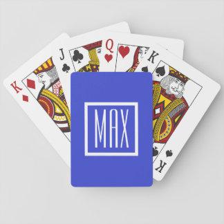 Cartões de jogo azuis personalizados monograma do jogo de baralho