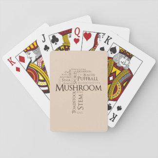 Cartões de jogo clássicos do cogumelo da palavra jogo de baralho