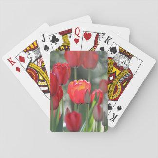 Cartões de jogo das tulipas do primavera vermelho jogo de baralho