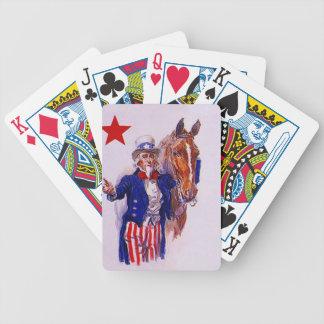 Cartões de jogo do cavalo de cavalaria do tio Sam Baralho De Cartas