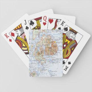 Cartões de jogo do mapa da ilha de deserto da baralho