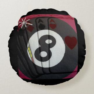 Cartões de jogo dos jogadores e bola de piscina almofada redonda