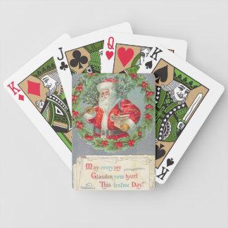 Cartões de jogo verdes da bicicleta do natal vinta jogo de carta