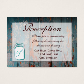 Cartões de madeira da recepção de casamento do