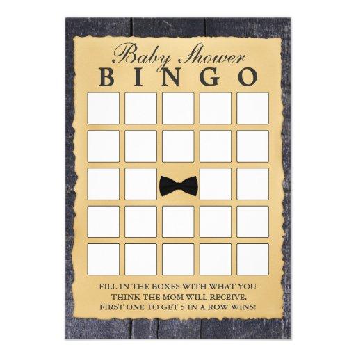 Cartões de madeira do Bingo do chá de fraldas do l Convite Personalizado