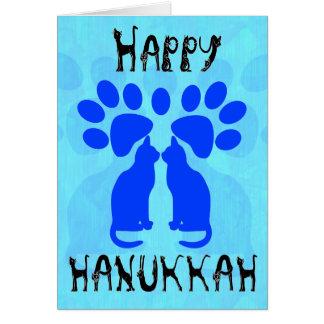 Cartões de Menorah Chanukah do gato