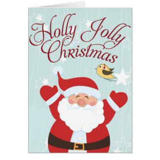 Cartões de Natal alegres do azevinho do papai noel