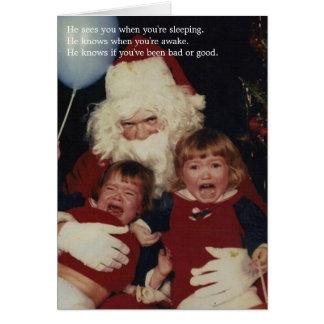 Cartões de Natal assustadores do papai noel