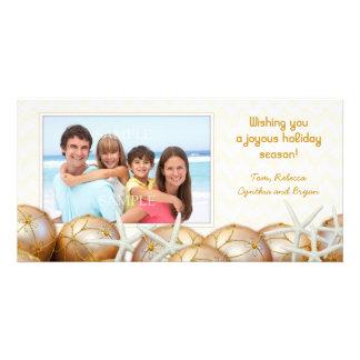 Cartões de Natal da foto da estrela do mar do ouro