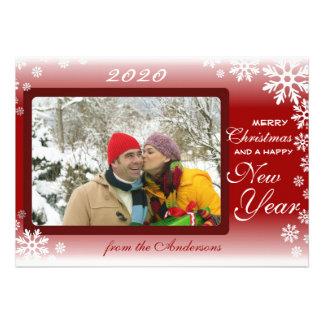 Cartões de natal de desvanecimento brancos vermelh convites personalizado