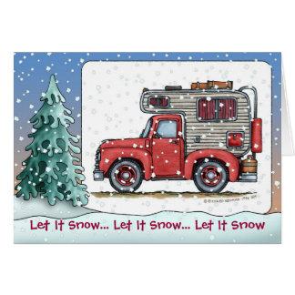 Cartões de natal do campista rv do camionete