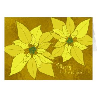 Cartões de Natal do modelo das poinsétias do ouro