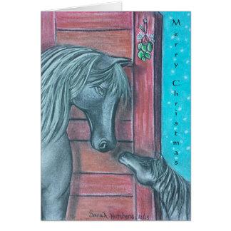 Cartões de Natal do momento do visco da égua e do