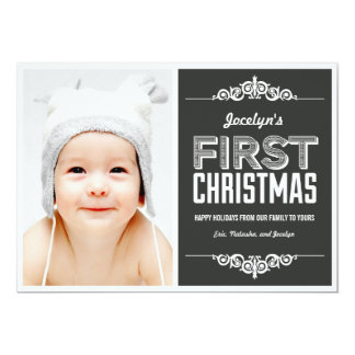 Cartões de natal do Natal do bebê primeiros - Convite 12.7 X 17.78cm