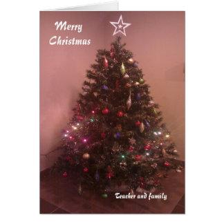 Cartões de Natal do professor e da família