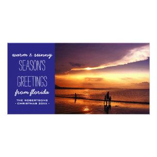 Cartões de natal dos azuis marinhos da praia cartão com foto
