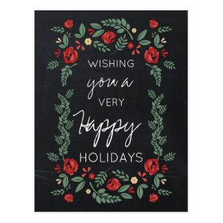 cartões de natal florais do jardim do quadro