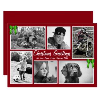 Cartões de Natal lisos da Multi-Foto da grande