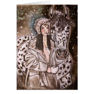 Cartões de Natal nevado do Appaloosa do leopardo