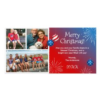 Cartões de Natal patrióticos da foto feita sob