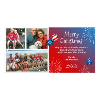Cartões de Natal patrióticos da foto feita sob Cartão Com Foto