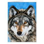Cartões de Natal pintados do lobo
