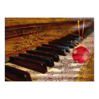 cartões de natal rústicos do pianista da colagem