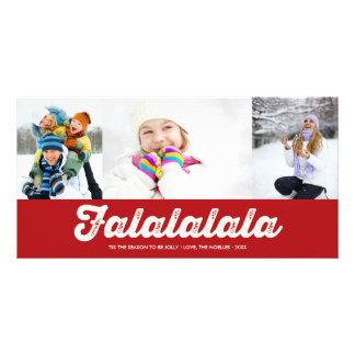 Cartões de natal vermelhos da foto do Natal de Cartão Com Foto