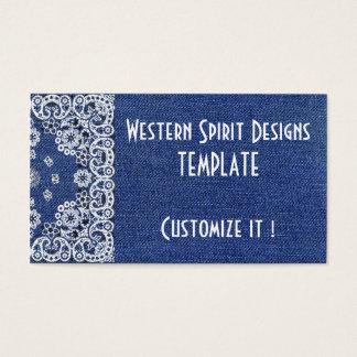 Cartões de negócios azuis escuro da sarja de Nimes
