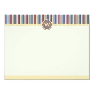 Cartões de nota brilhantes das listras convite 10.79 x 13.97cm