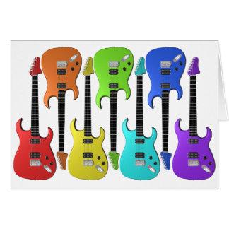 Cartões de nota coloridos das guitarra elétricas