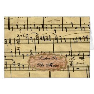 Cartões de nota da música do vintage
