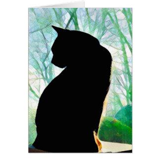 Cartões de nota do gato preto