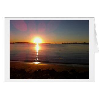 Cartões de nota do por do sol da baía