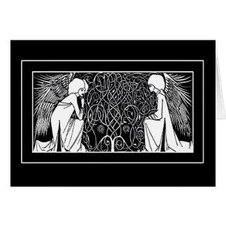 Cartões de nota dos anjos de Nouveau da arte de