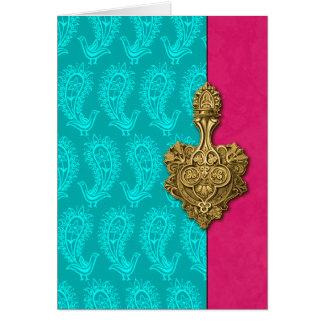 Cartões de nota indianos dos pavões de Paisley do