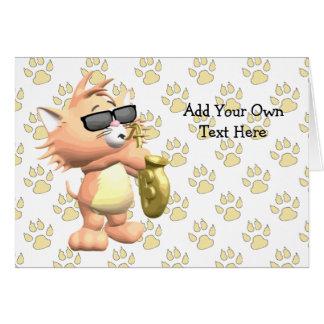 Cartões de nota musicais engraçados do gato dos