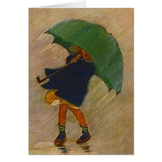 Cartões de nota retros do vazio do guarda-chuva do