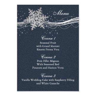 Cartões de prata azuis do menu do casamento no convite 12.7 x 17.78cm