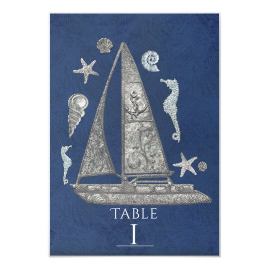 Cartões de prata náuticos do número da mesa do convite 8.89 x 12.7cm