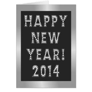 Cartões de prata & pretos do feliz ano novo 2014
