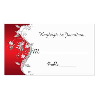 Cartões de prata vermelhos ornamentado do lugar cartão de visita