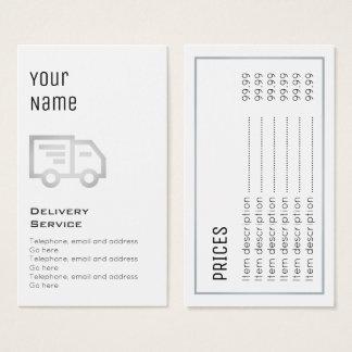 """Cartões de preço """"essenciais"""" da entrega"""