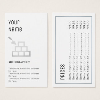 """Cartões de preço """"essenciais"""" do pedreiro"""