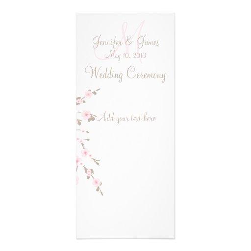 Cartões de programa da igreja do casamento da flor convite personalizado
