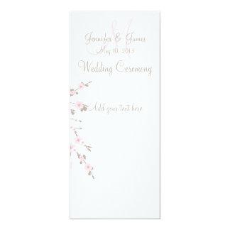 Cartões de programa da igreja do casamento da flor convite 10.16 x 23.49cm