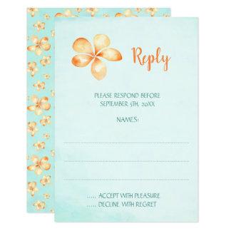 Cartões de resposta do casamento do Plumeria da