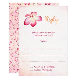 Cartões de resposta do casamento do Plumeria do